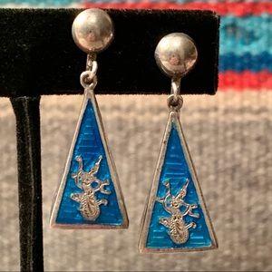 Vintage Siam Blue Nielloware Pyramid Earrings